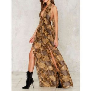 Nasty Gal Collection Silk Got it Plunging Jumpsuit